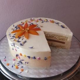 Healthier apricot sunshine mousse cake