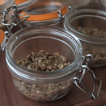 Crumble base - mangoffee, cheroffee and banoffee pie in a jar