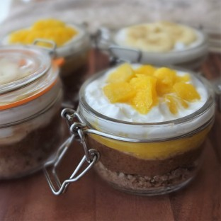 Healthier mangoffee and banoffee pie in a jar