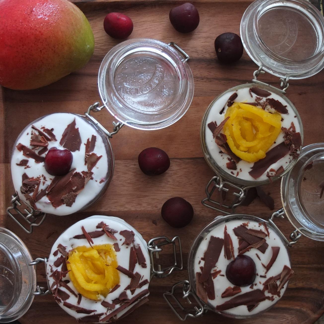 Healthier mangoffee, cheroffee, banoffee pie in a jar