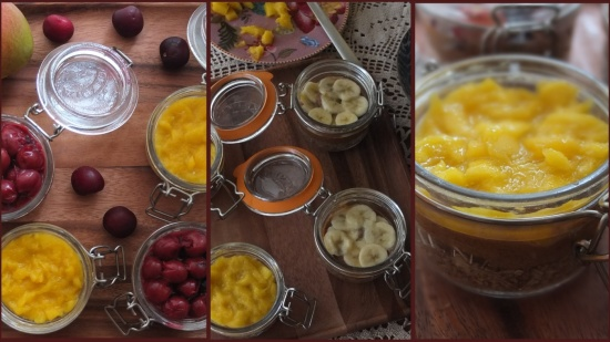 Fruit layer - mangoffee, cheroffee and banoffee pie in a jar