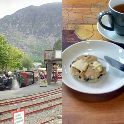 A steam train and traditional Welsh cake