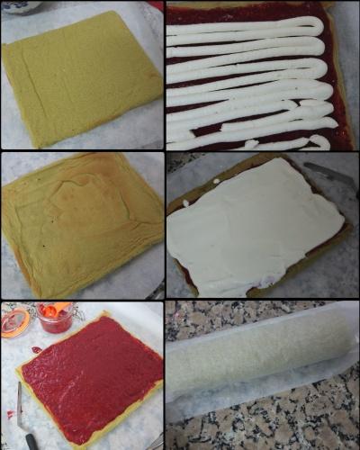 Matcha swiss roll soufflé sponge - assembling