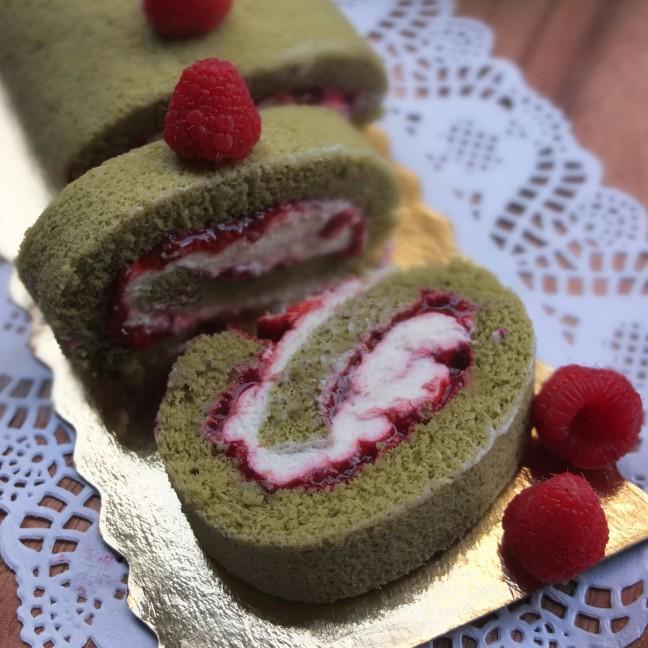 Matcha, raspberry and ricotta cream swiss roll