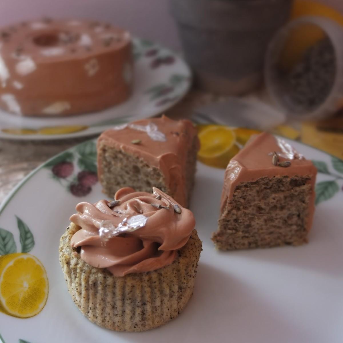 Lavender Infused Chiffon Cake With Lemon Curd Glaze