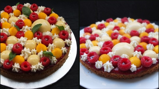 Raspberry, lemon and peach tarte Fantastik