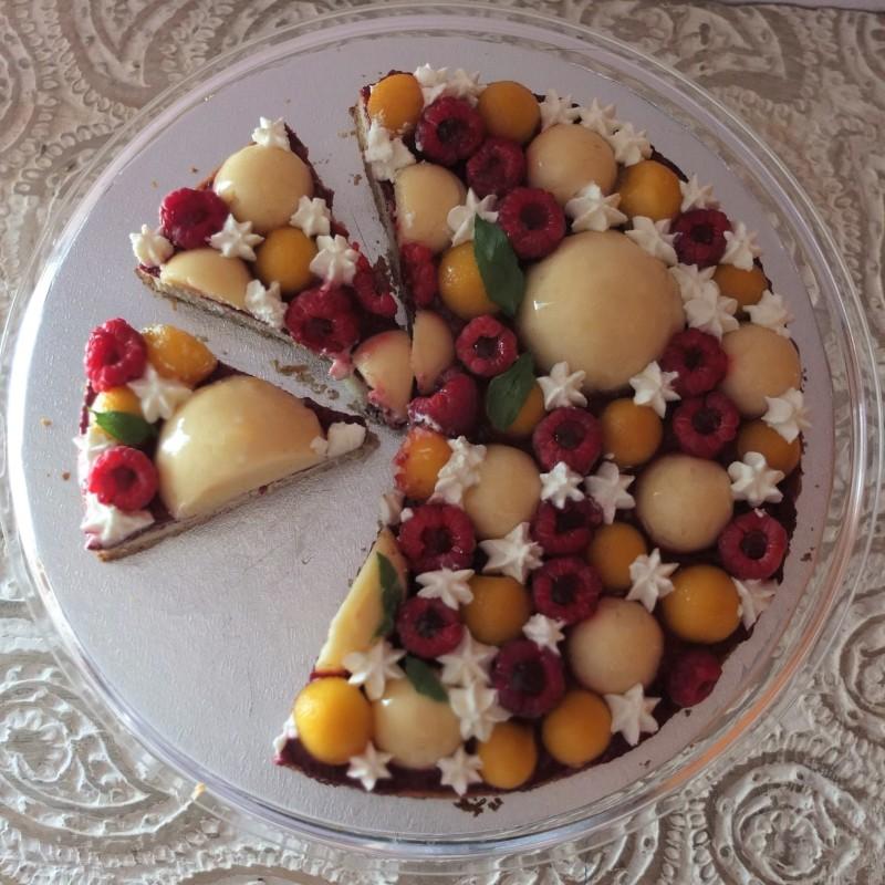 Raspberry, lemon and peach tarte Fantastik