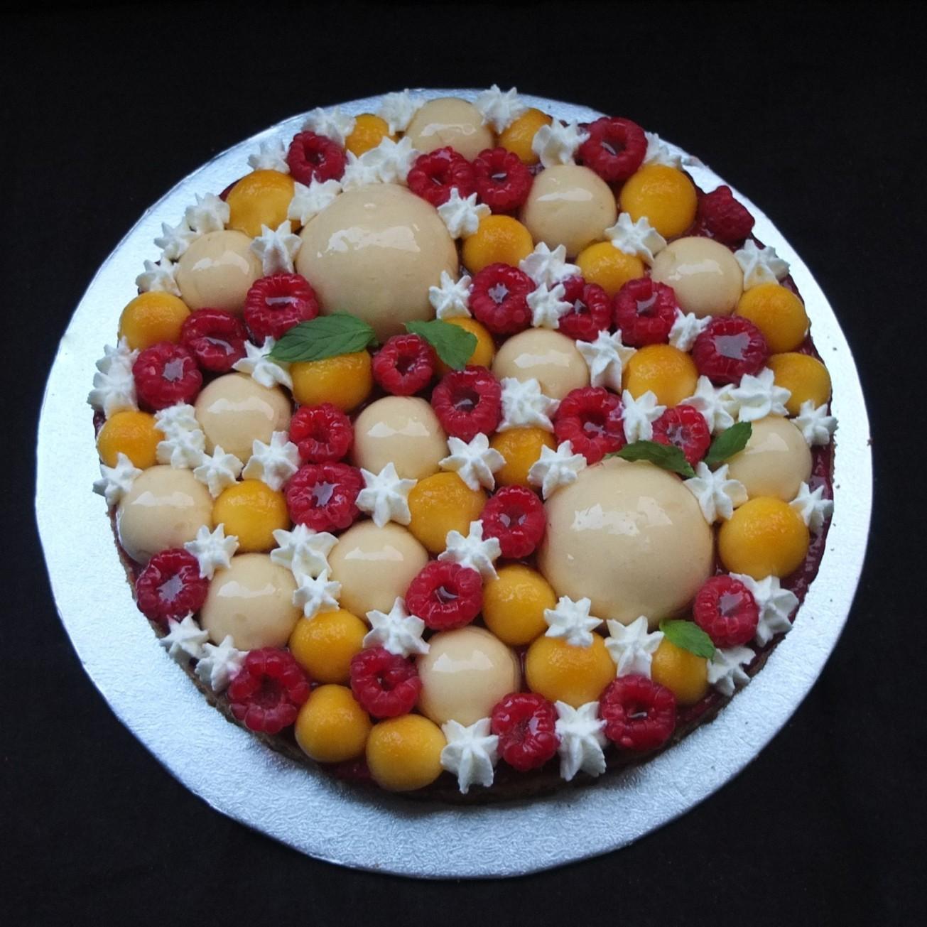 Raspberry, lemon and peach Fantastik tart