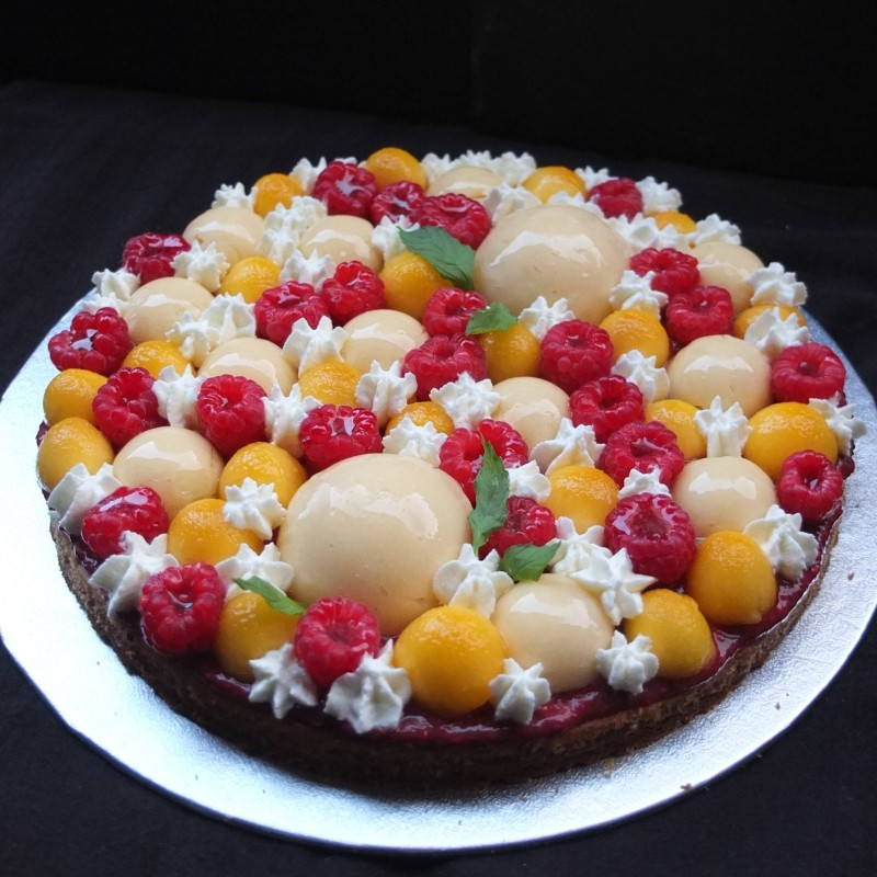 Raspberry, lemon and peach Fantastik tart