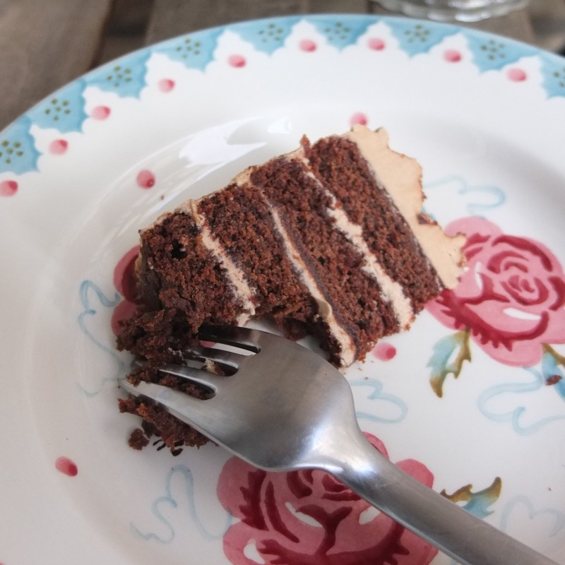 Vegan mocha layer cake