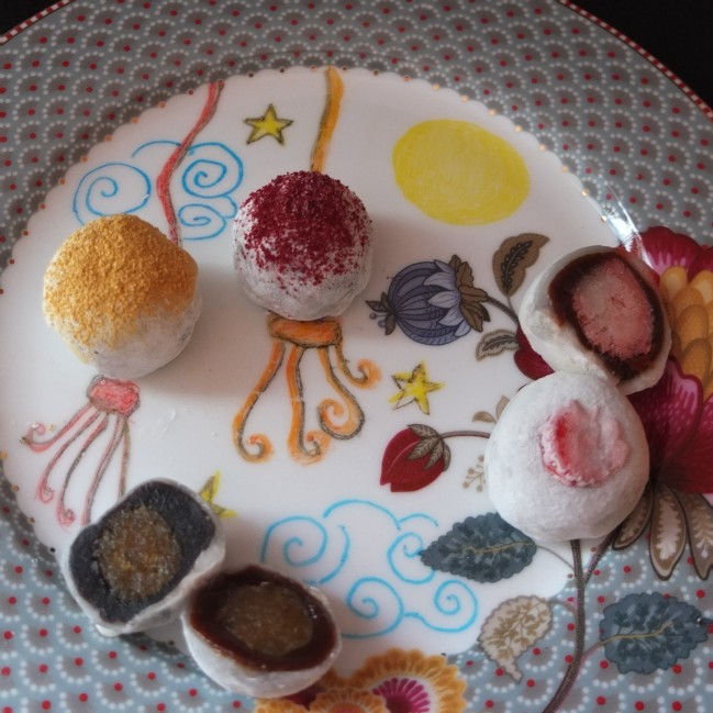 A variety of mochi rice cakes