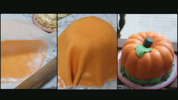 Princess turned pumpkin cake - assembling 2