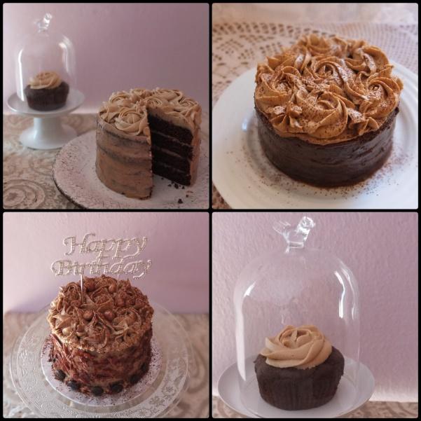 Vegan mocha layer cake and cupcake prototypes