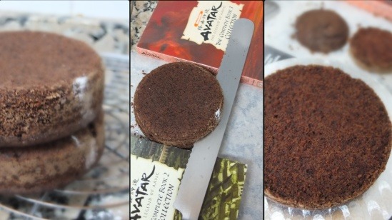 Vegan mocha layer cake - assembling 1