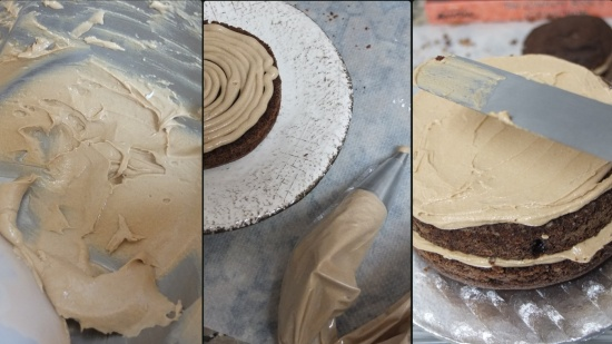 Vegan mocha layer cake - assembling 2