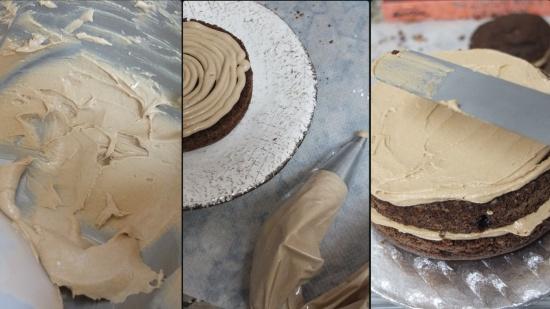 Vegan mocha layer cake - assembling 2