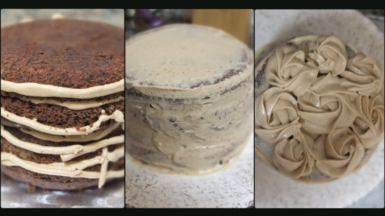 Vegan mocha layer cake - assembling 3