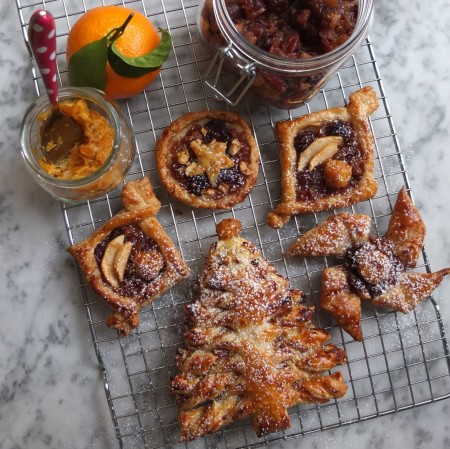 Mincemeat and mandarin puff pastry Christmas trees and pastries