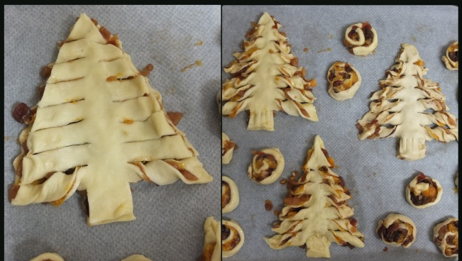 Cutting and shaping the pastry tree