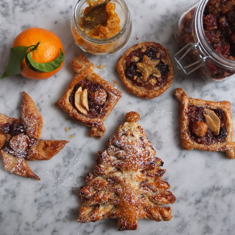 Mincemeat and mandarin puff pastry Christmas trees