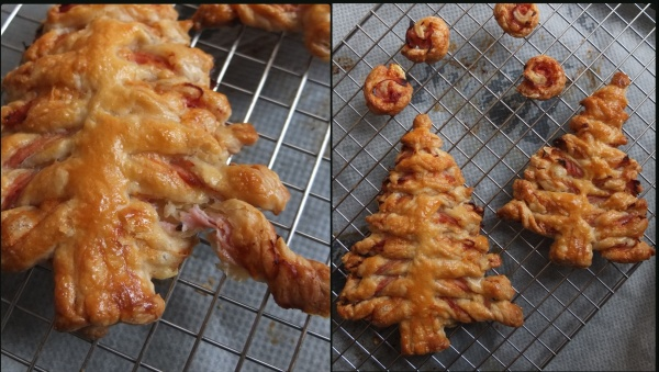Ham and cheese puff pastry Christmas trees