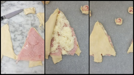 Making ham and cheese puff pastry Christmas trees 1