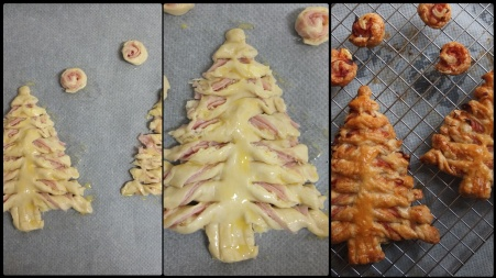 Making ham and cheese puff pastry Christmas trees 2