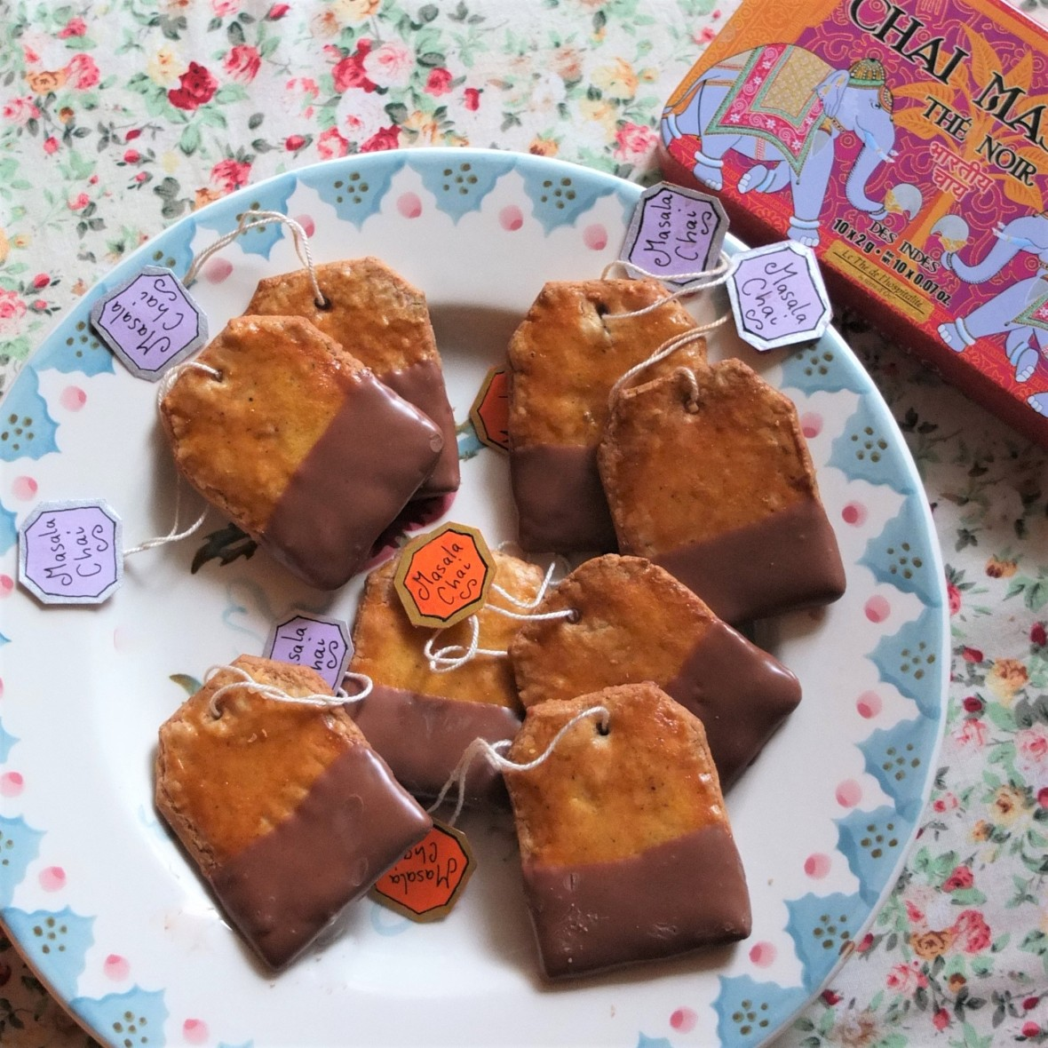 Masala Chai tea bag biscuits or cookies dipped in chocolate