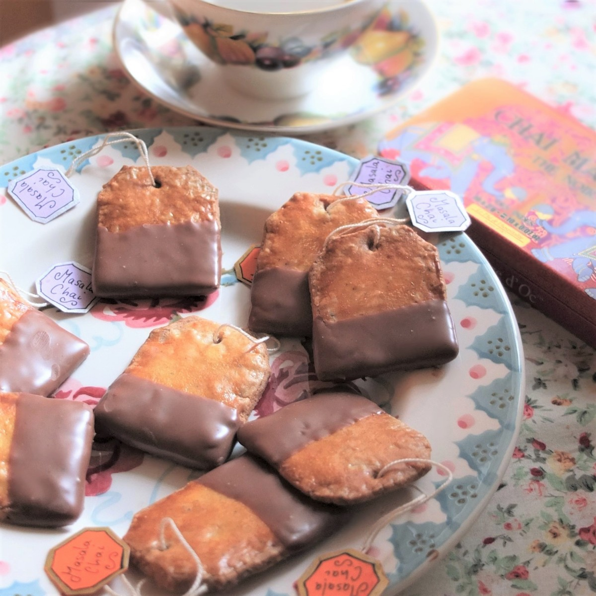 Healthier masala chai tea bag shortbread biscuits (cookies) dipped in chocolate recipe!  Plus Christmas cookies! :)