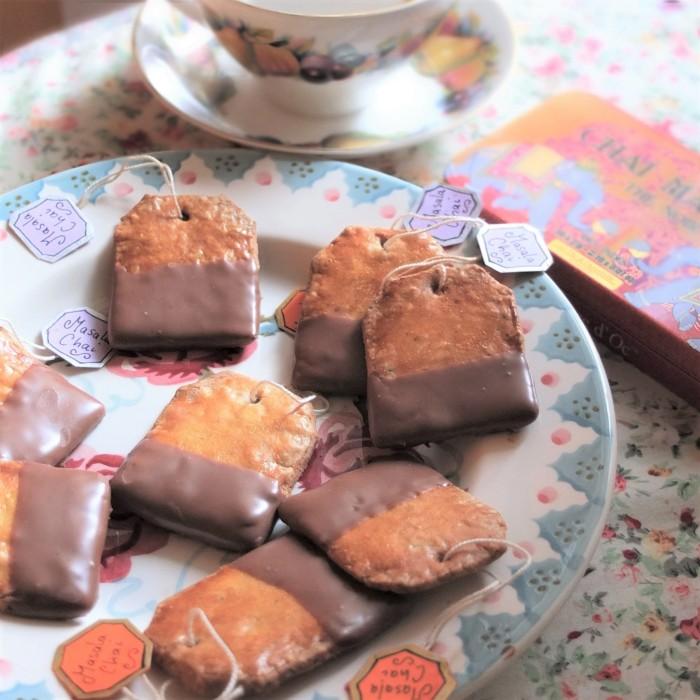 Healthier masala chai and chocolate tea bag biscuits