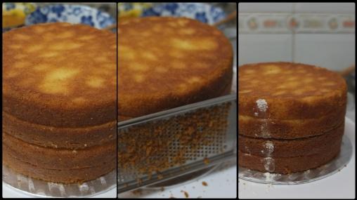 Preparing the sponge layers 1 - drip cake
