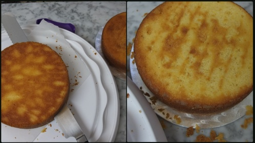 Preparing the sponge layers 2 - drip cake
