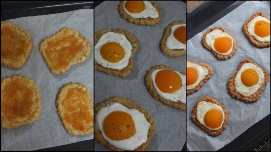 Making apricot and quark faux fried egg pastries 2