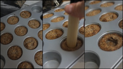 Making vegan almond and maple syrup cookie cups 2