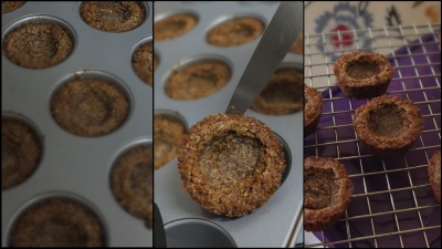 Making vegan almond and maple syrup cookie cups 3