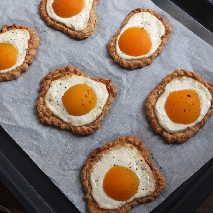 Faux fried egg apricot and quark puff pastries