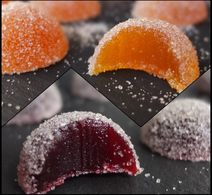Pate de fruits - fruit jellies, raspberry and passionfruit