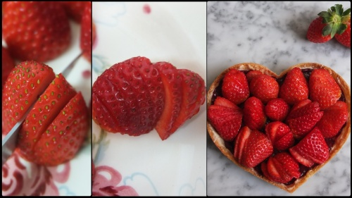 Slicing strawberries for the tart