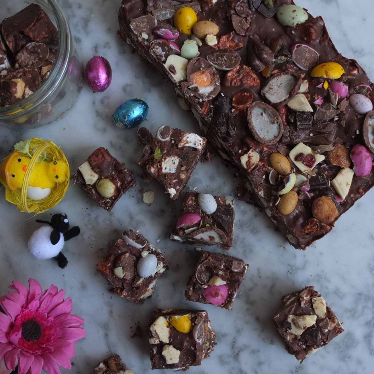 Gourmet rocky road with Easter stuff