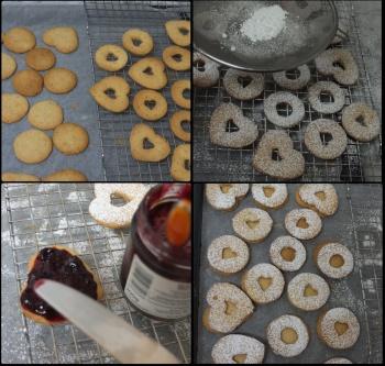 Assembling Linzer jam sandwich cookies