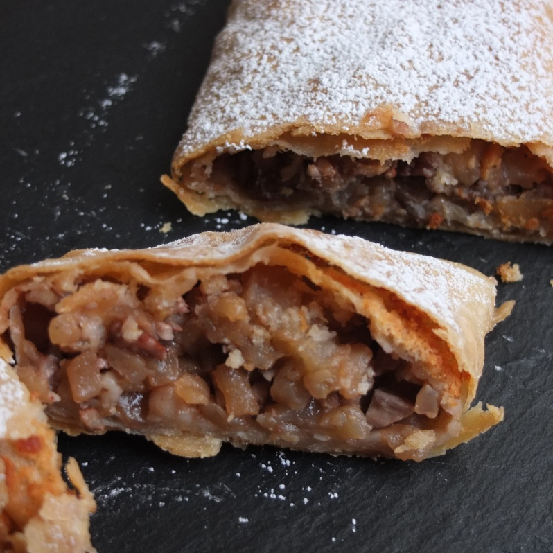Apple strudel with traditional pastry