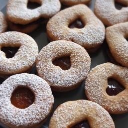 Vanilla and lemon Linzer jam cookies