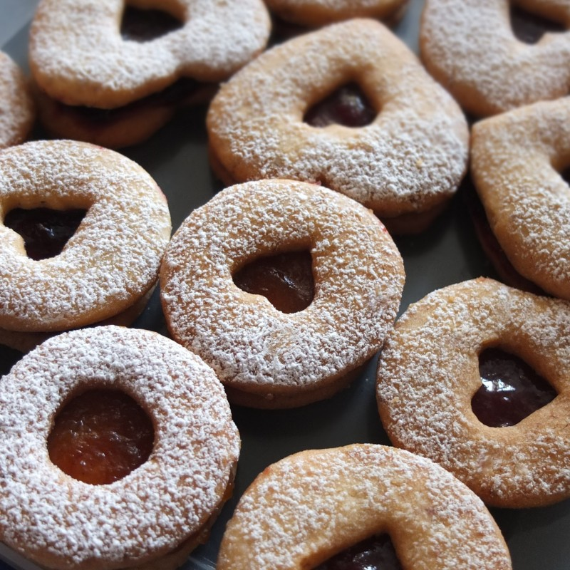 Vanilla and lemon Linzer jam cookies