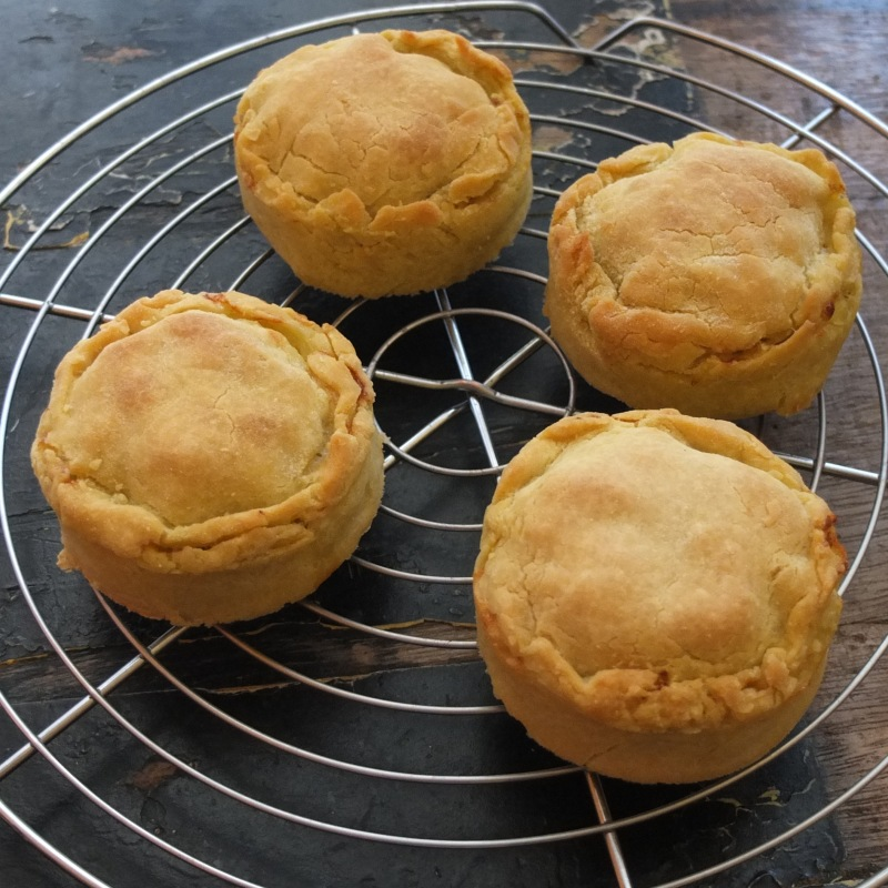 Individual artichoke, bean and potato pies