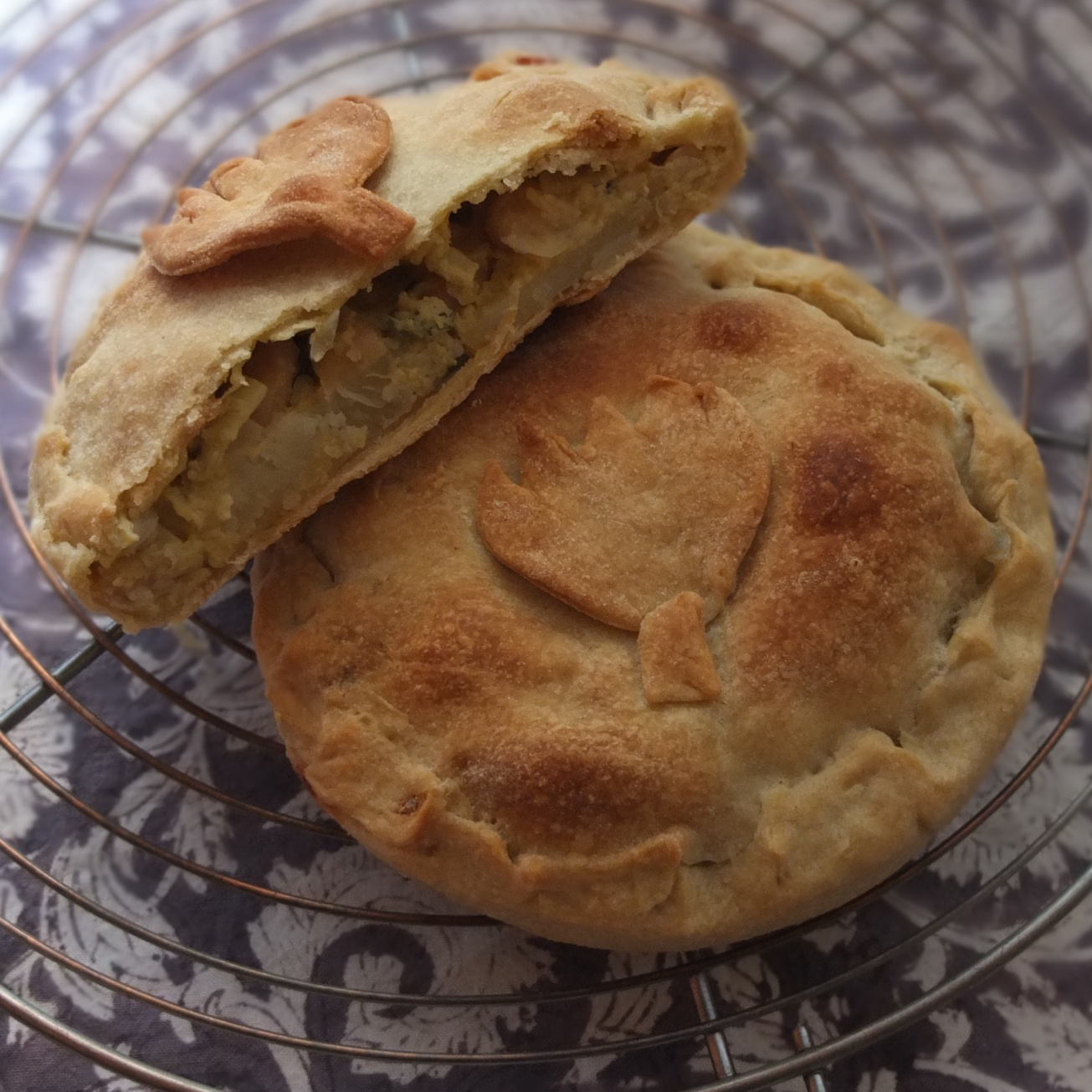 Artichoke, beans and potato pies
