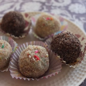 Chocolate chip and passion fruit cake truffles or birthday cake truffles?