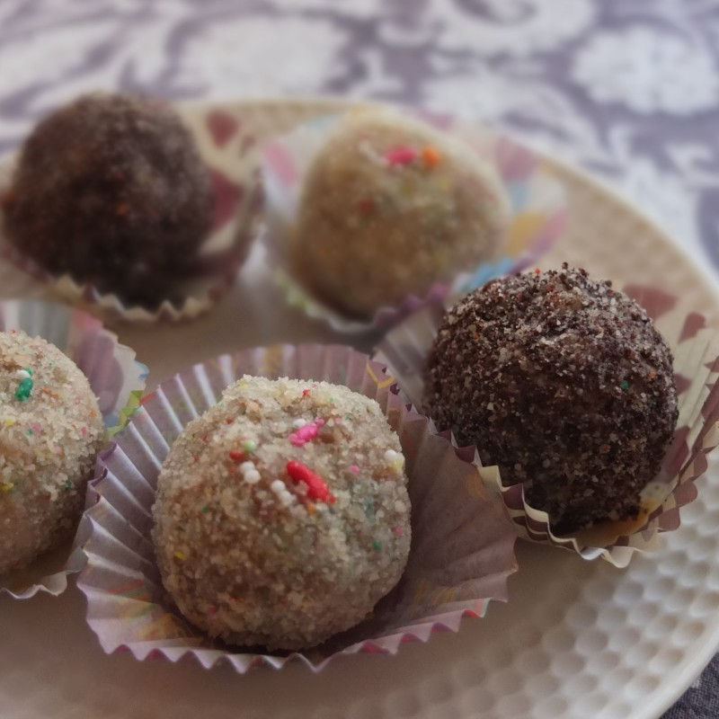 Chocolate chip and passion fruit cake truffles or birthday cake truffles?