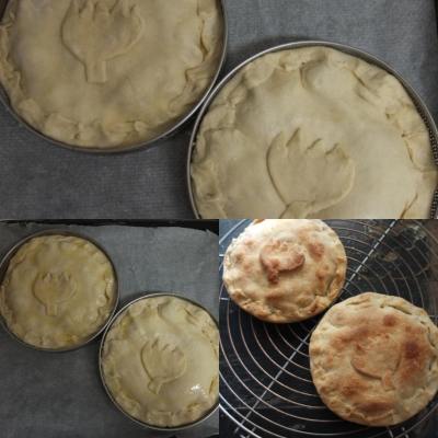 Making artichoke, bean and potato pies