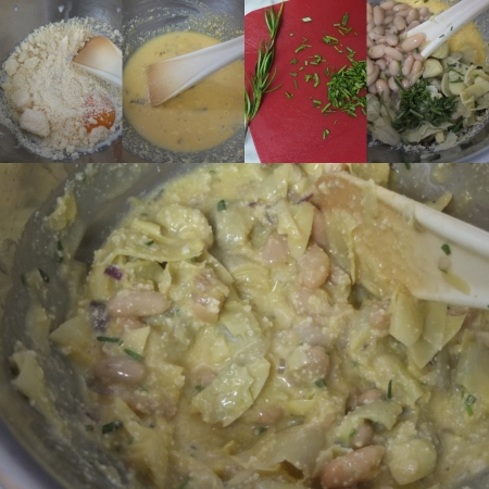 Making the artichoke, bean and potato pie filling