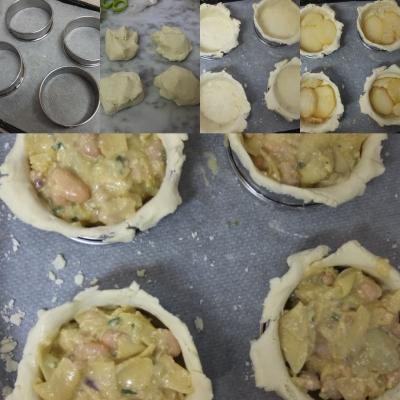 Making small artichoke, bean and potato pies 1